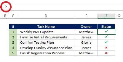 how to insert a checkmark symbol in excel