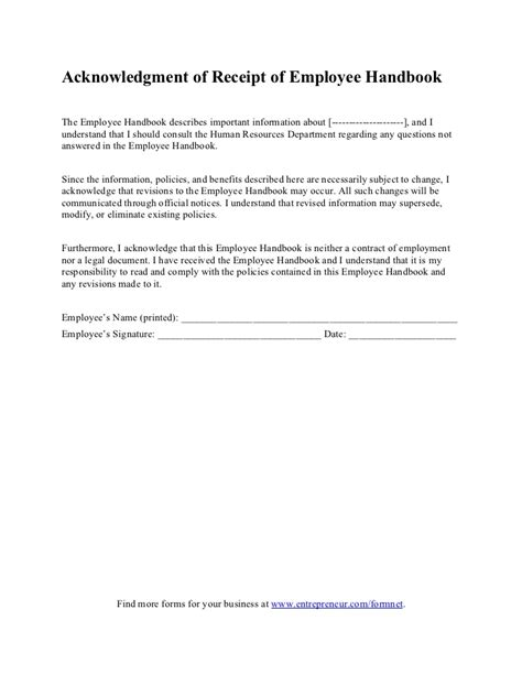 acknowledgement of documents receipt template acknowledgment of receipt of employee handbook