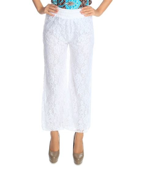 Flora White buy flora white net palazzos at best prices in