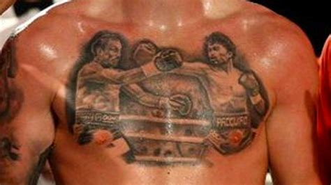 pacquiao tattoo look boxer shows epic pacquiao marquez chest