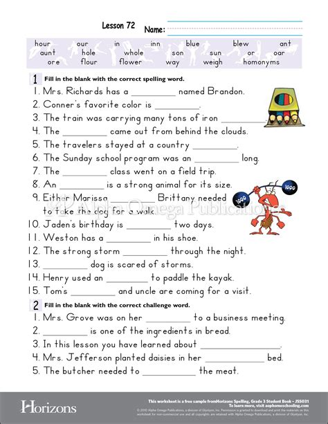 printable lesson plans for 3rd grade aop horizons free printable worksheet sle page download