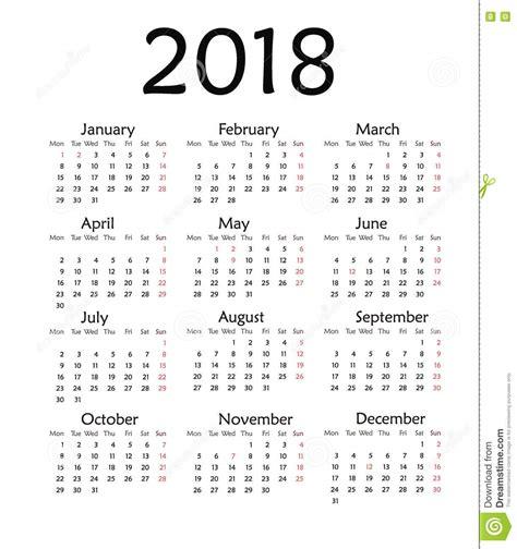 Kalendarz 2018 Daty świąt Prosty Kalendarz Dla 2018 Rok Ilustracji Obraz 79973768