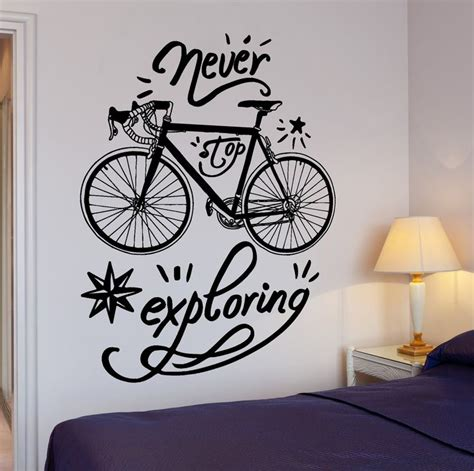 cycling home decor wall vinyl decal bike bicycle quote words never stop