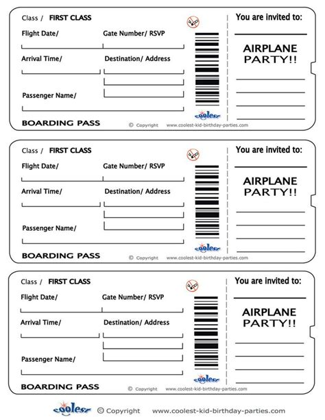 plane ticket template printable airplane boarding pass invitations coolest