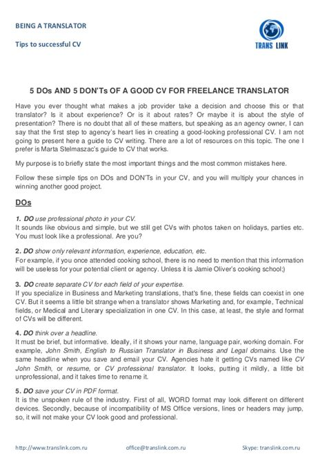 resume translation 5 dos and 5 don ts of a cv for freelance translator