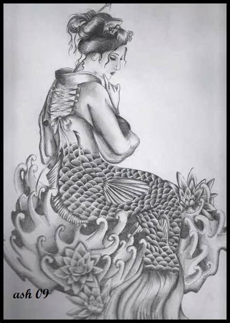 black and grey geisha tattoo geisha tattoo geisha mermaid tattoo picture