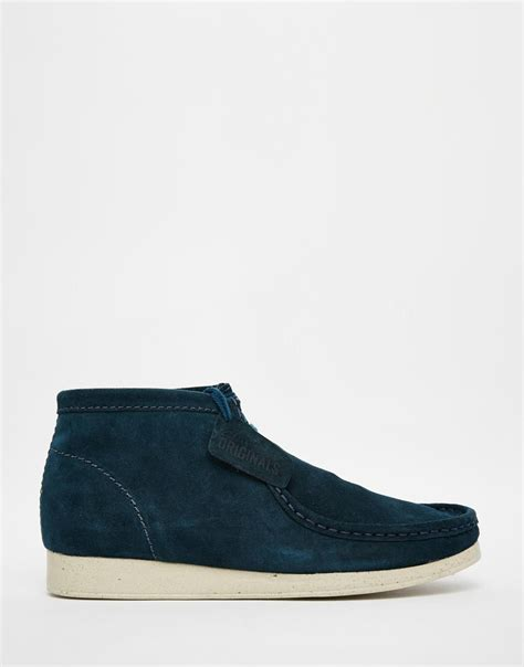 wallabee boots lyst clarks aerial wallabee boots in blue for