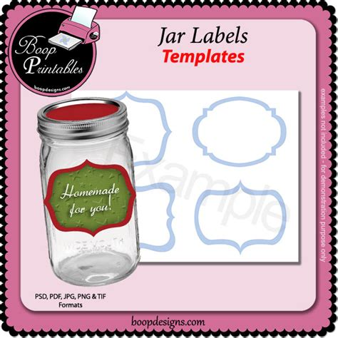 Jar Labels TEMPLATES by Boop Printable Designs [bp jar