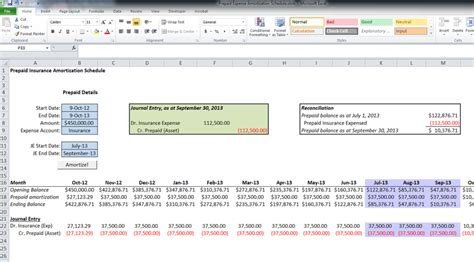 prepaid expense spreadsheet template 26 images of prepaid amortization schedule excel template