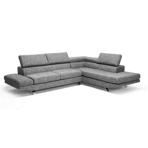 Adelaide Gray Twill Fabric Modern Sectional Sofa See White Twill Sectional Sofa