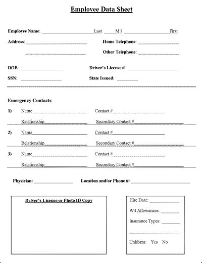 employee data sheet and confidential information form