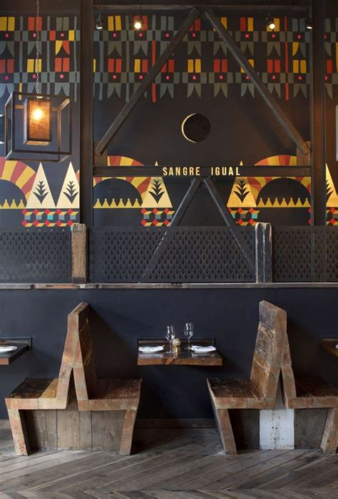 booth design for restaurants very funky painted wall and wooden furniture in the duende