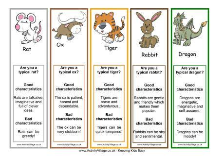 printable horoscope bookmarks chinese zodiac bookmarks craft ideas pinterest
