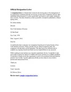 How To Write An Official Resignation Letter by Official Resignation Letter