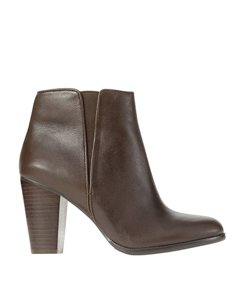 phoebe chunky heel leather ankle boots in brown