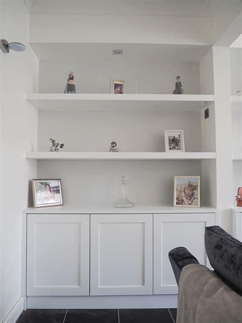 shaker alcove cabinets  floating shelves  furniture