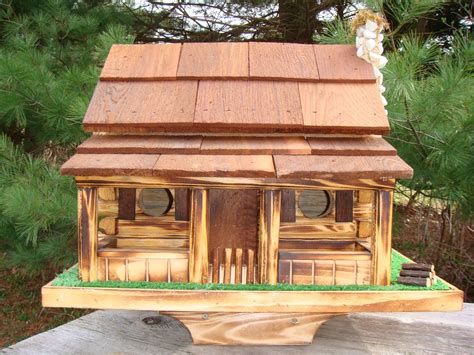 Amish Handcrafted Large Log Cabin Birdhouse With Stone Cabin Birdhouse Plans