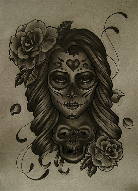 day of the dead tattoos with roses day of the dead idea minus the roses and skull