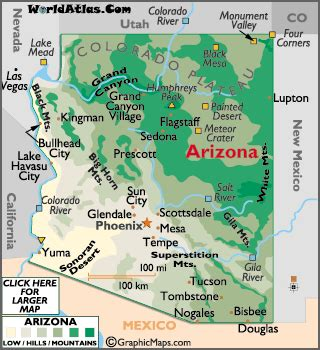 world map arizona arizona map geography of arizona map of arizona