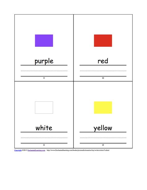 Color Picture Dictionary colors tiny picture dictionary a book to print