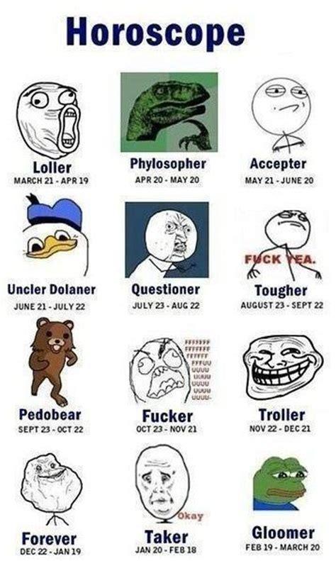 Meme Zodiac Signs - zodiac memes meme by thegamingkoala memedroid