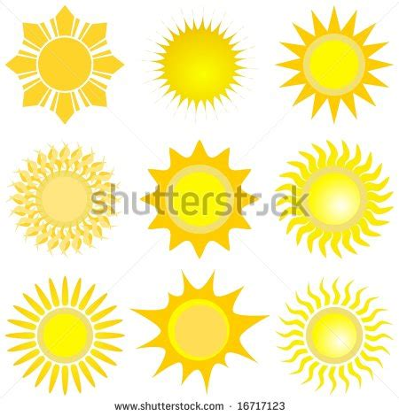 collection vectorized suns stock vector 114938677