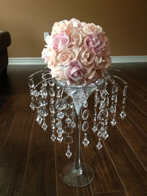 pale peach and pale pink martini glass centerpiece with