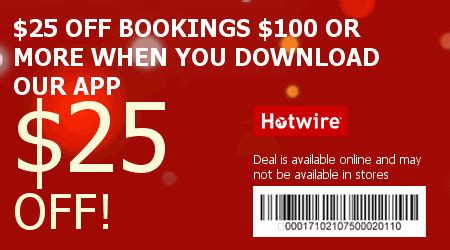 hotwire coupon code | $25 off a $100 booking | saving with