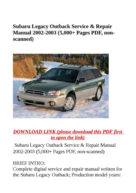 2001 subaru legacy and outback repair shop manual set original subaru legacy outback service repair manual 2002 2003 5 000 pages pdf non scanned by steve