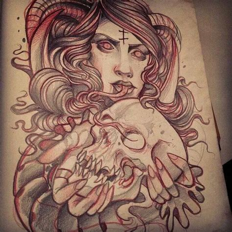 new school virgo tattoo neotraditional demon woman sketch by grindesign tatts