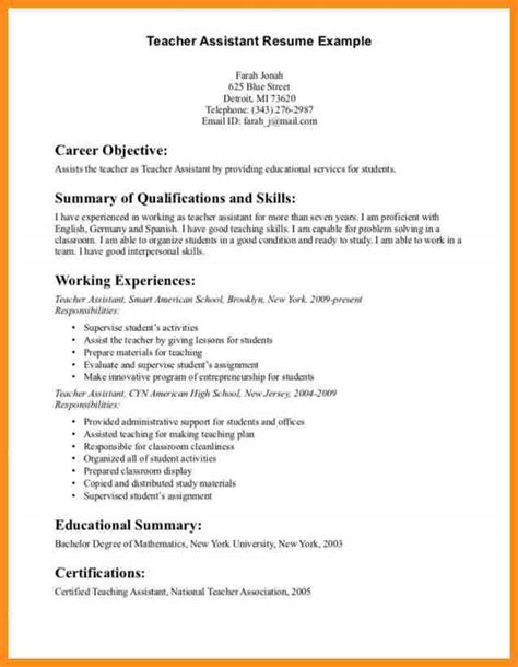 Job Resume Teacher by 9 Career Objectives For Teachers Parts Of Resume