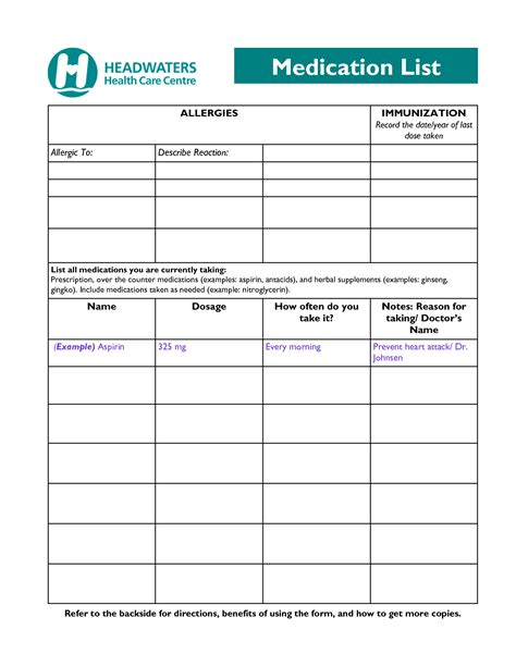 blank medication list form pictures to pin on pinterest