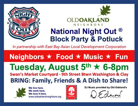 Aug 5 2014 National Night Out Block Party Potluck Old Oakland Neighbors National Out Flyer Template Free