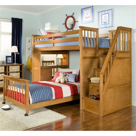 schoolhouse stairway loft bed pecan bunk beds loft