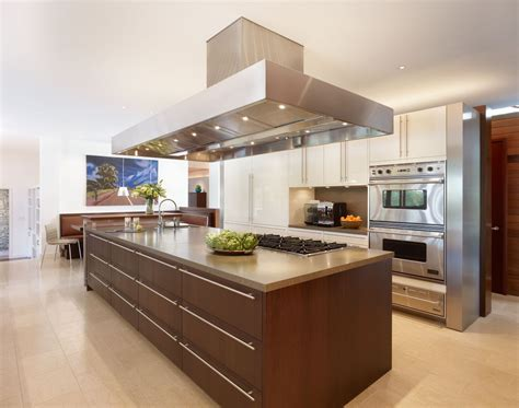 kitchen island storage design large brown varnished wooden storage kitchen island combined stainless steel chimney of