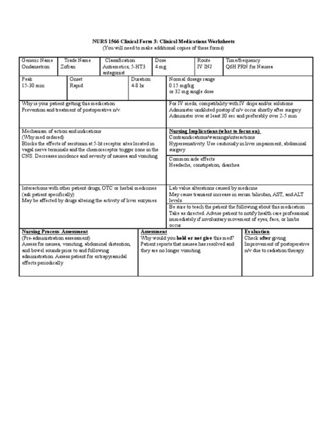 card template for nursing students zofran card