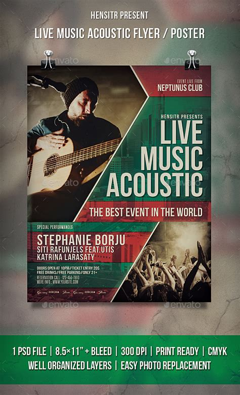 live music acoustic flyer poster by hensitr graphicriver