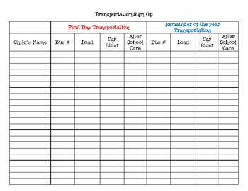 back to school sign in sheet template back to school transportation sign up sheet by the
