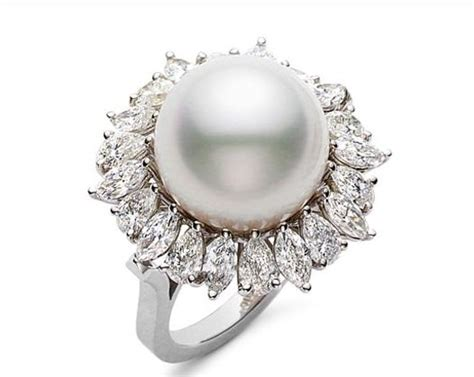images for pearl engagement rings with diamonds image