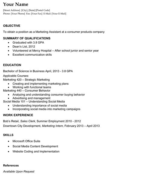 Resume Template For College Graduate by Recent College Graduate Resume The Resume Template Site