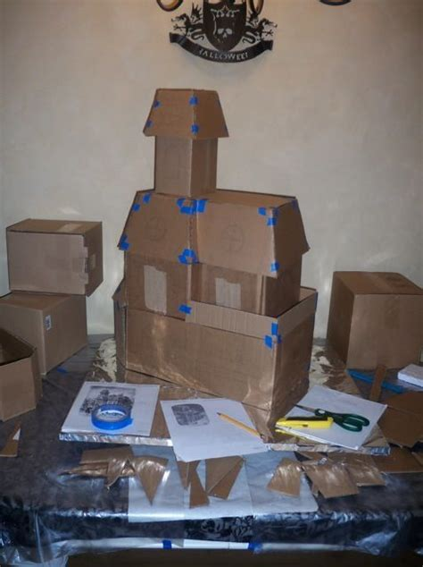How To Make A Haunted House Out Of Paper - cardboard haunted house would be to make and
