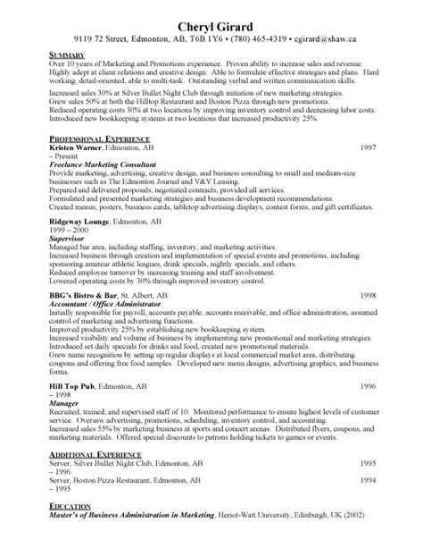Mba Summer Internship Resume Sle by Sle Resume For Marketing 28 Images Sle Resume For Mba
