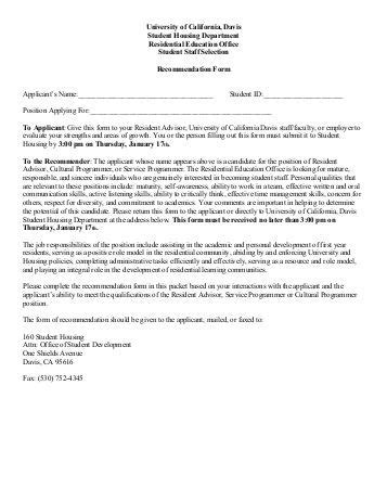 Recommendation Letter For Uc Application Form A Faculty Staff Recommendation Letter Request Uc Davis