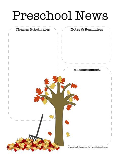 preschool newsletter template the crafty fall preschool newsletter template