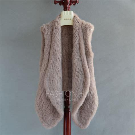 Handmade Vest - real rabbit fur knitted vest handmade faced knitted