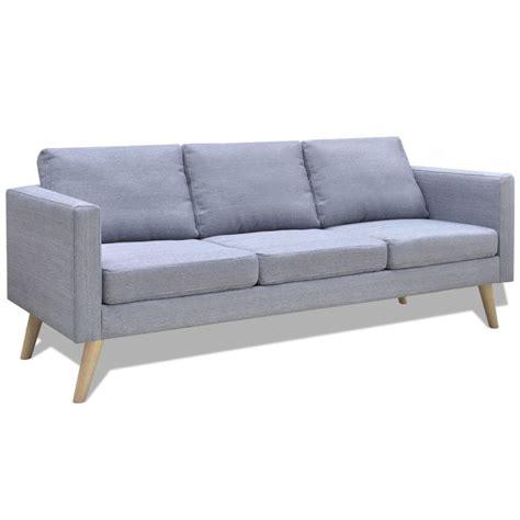 canapé tissu gris clair acheter canap 233 3 places en tissu gris clair pas cher