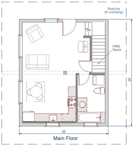 480 square feet floor plan 24x20 sqft cottage b