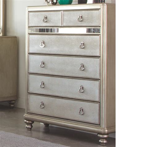 coaster bling game 7 drawer bedroom vanity in metallic platinum 204187 coaster bling game platinum metallic 6 drawers chest