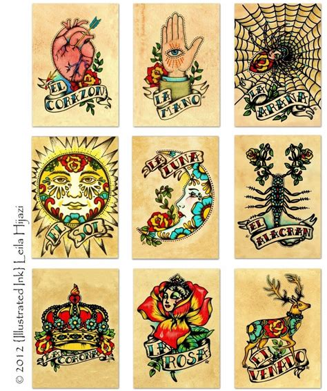 traditional mexican tattoo designs school spider la arana loteria print 5 x 7