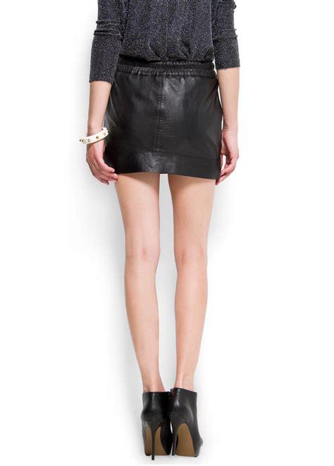 mango leather mini skirt in black lyst